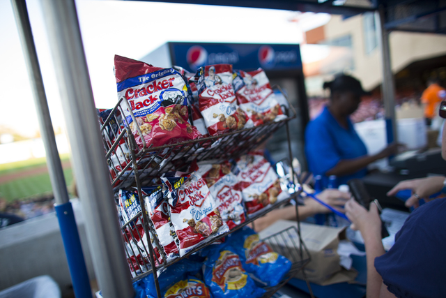 Cracker Jacks are shown at a food vendor before the Las Vegas 51s play the Tacoma Rainiers at Cashman Field on Friday, April 29, 2016. PepsiCoճ Frito Lay division announced that Cracker Jack ...