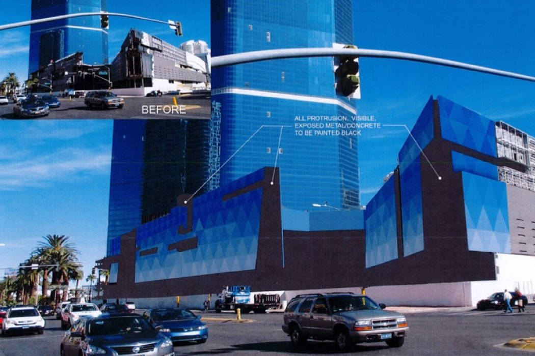 A rendering of a planned wrap to cover the bottom three stories of the unfinished Fontainebleau resort on the Strip. (Clark County)