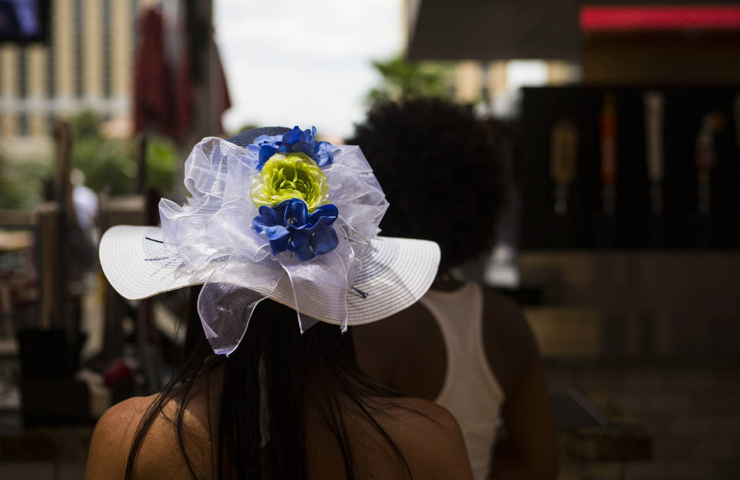 Manager Stephanie Andron wore a decorated hat during a Kentucky Derby viewing party at Beer Park at the Paris hotel-casino in Las Vegas on Saturday, May 6, 2017. Chase Stevens Las Vegas Review-Jou ...