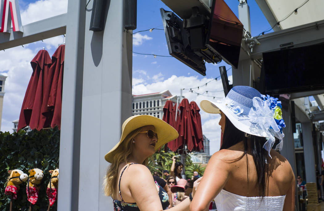 Beer Park managers Rachel Headley, left, and Stephanie Andron during a Kentucky Derby viewing party at the restaurant and bar at the Paris hotel-casino in Las Vegas on Saturday, May 6, 2017. Chase ...