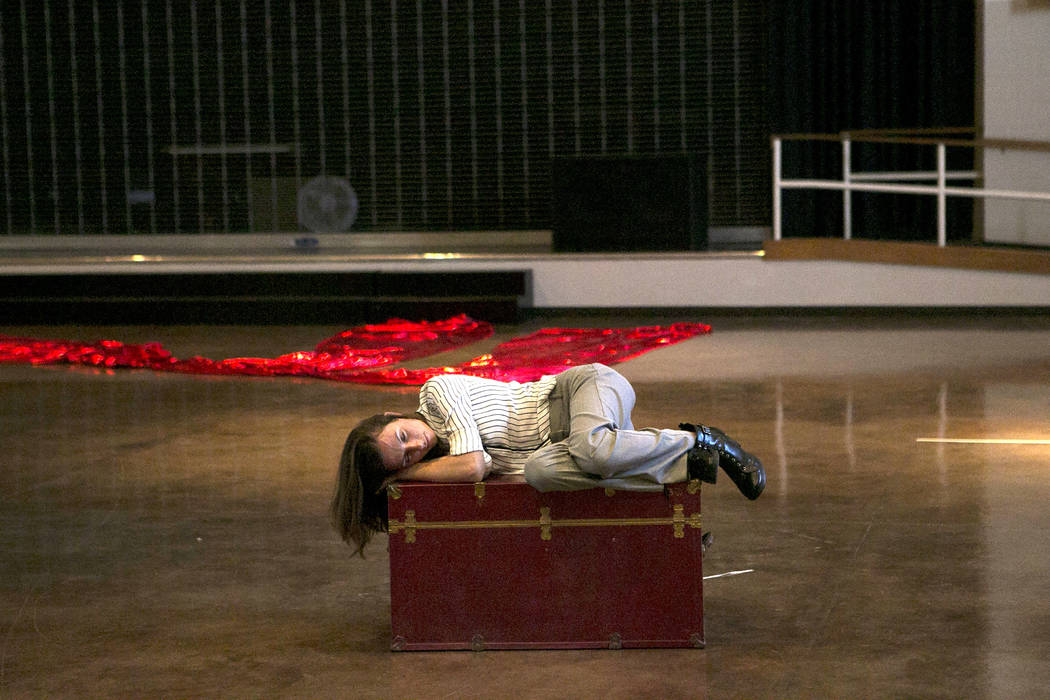 """Lauren McAllister, playing Lazuli, rehearses a scene of """"L'Etoile (The Star),"""" a comic opera set in outer space, at University Methodist Church on Wednesday, May 3, 2017, in Las  ..."""