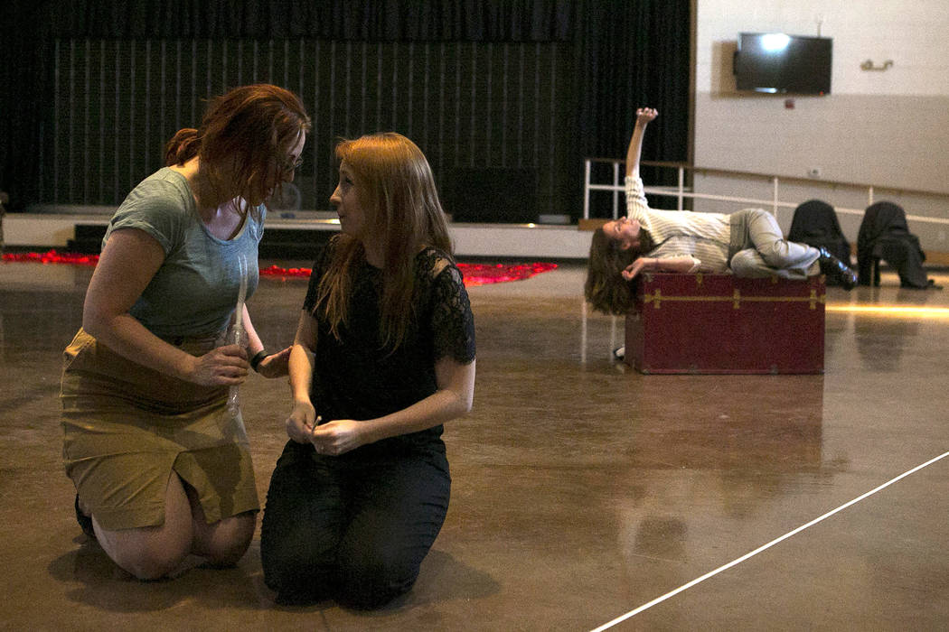 """From left to right, Susan Easter, playing Aloes, and Kayla Wilkens, playing Princess Laoula, and Lauren McAllister, playing Lazuli,  rehearse a scene of """"L'Etoile (The Star),"""" a  ..."""
