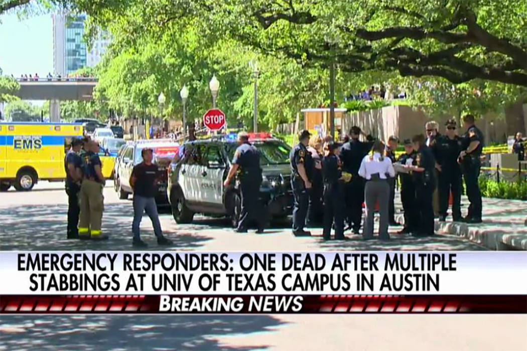 A suspect is in custody after a fatal stabbing at the University of Texas in Austin, Texas, Monday, May 1, 2017. (Screengrab/KVUE)