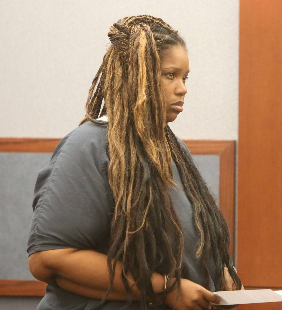 Latoya Williams-Miley, charged with murder in the death of 13-year-old Aaron Jones, appears in court at the Regional Justice Center on Tuesday, May 2, 2017, in Las Vegas. Bizuayehu Tesfaye Las Veg ...