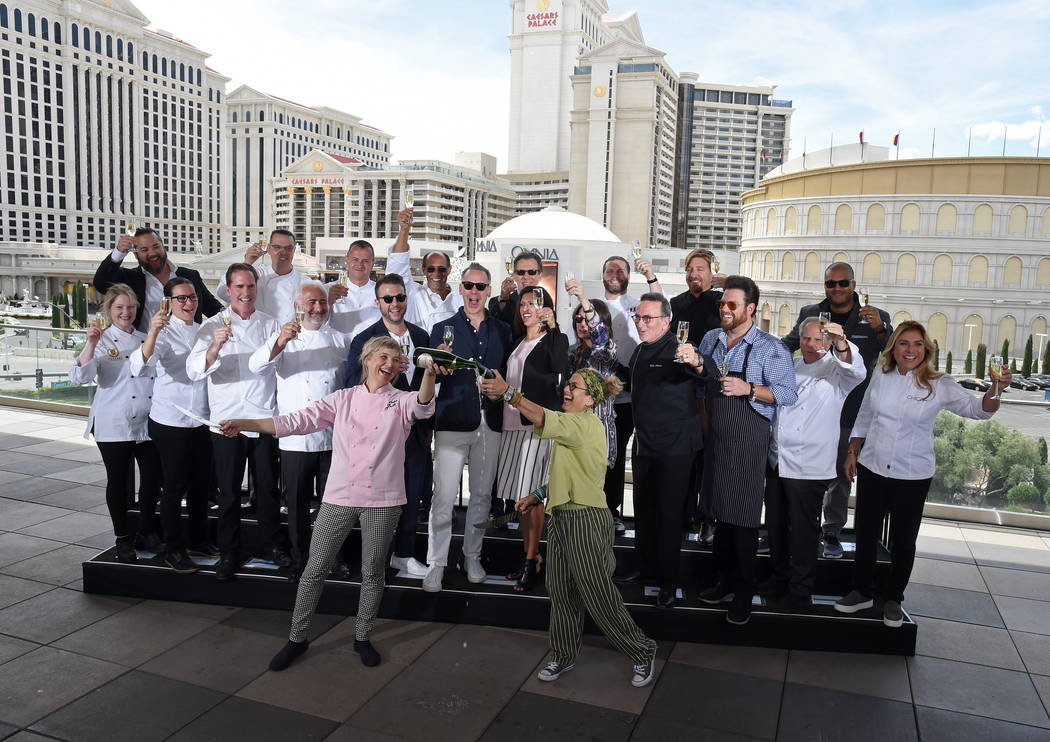 Chefs Mary Sue Milliken and Susan Feniger mark the beginning of the 11th Annual Vegas Uncork'd by Bon Apptit with a Perrier-Jouet Saber Off on Thursday, April 27, 2017, at The Vortex at The Linq H ...