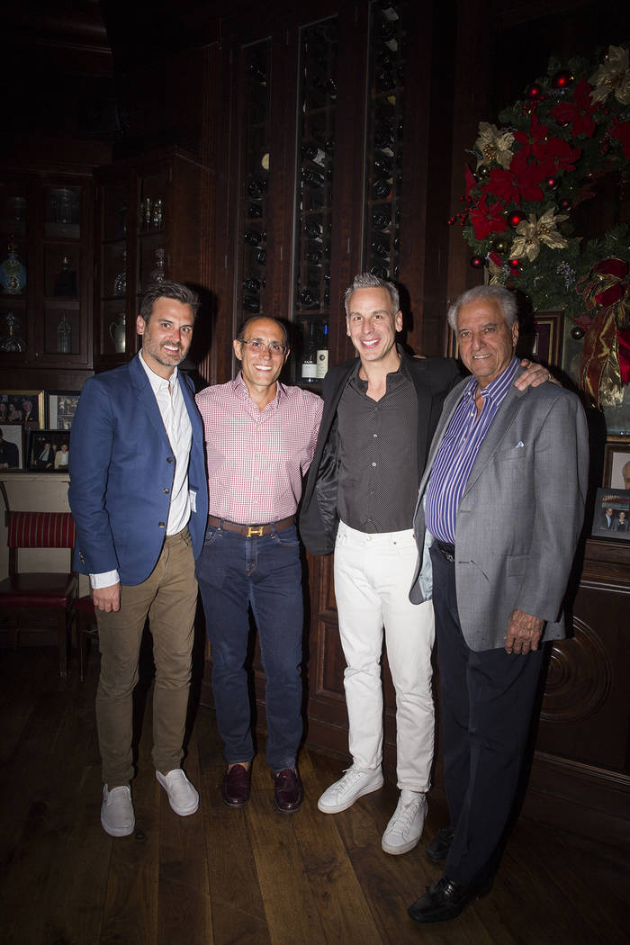 Andrew Knowlton, Frank Pellegrino Jr., Adam Rapoport and Ron Staci attend Rao's 10th anniversary dinner at Caesars Palace on Thursday, April 27, 2017, in Las Vegas. (Chelsea Kyle for Vegas Uncork' ...