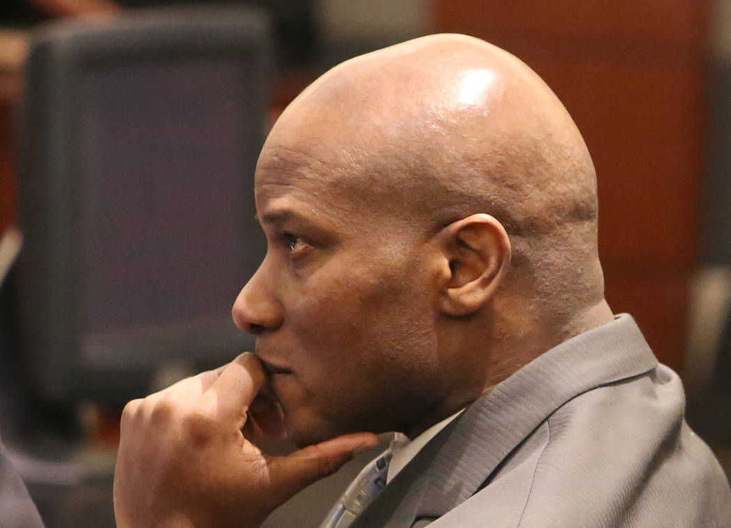 Frederick Richards, a former Bellagio club host accused of drugging and raping a woman, appears in court at the Regional Justice Center on Tuesday, May 2, 2017, in Las Vegas. Bizuayehu Tesfaye Las ...