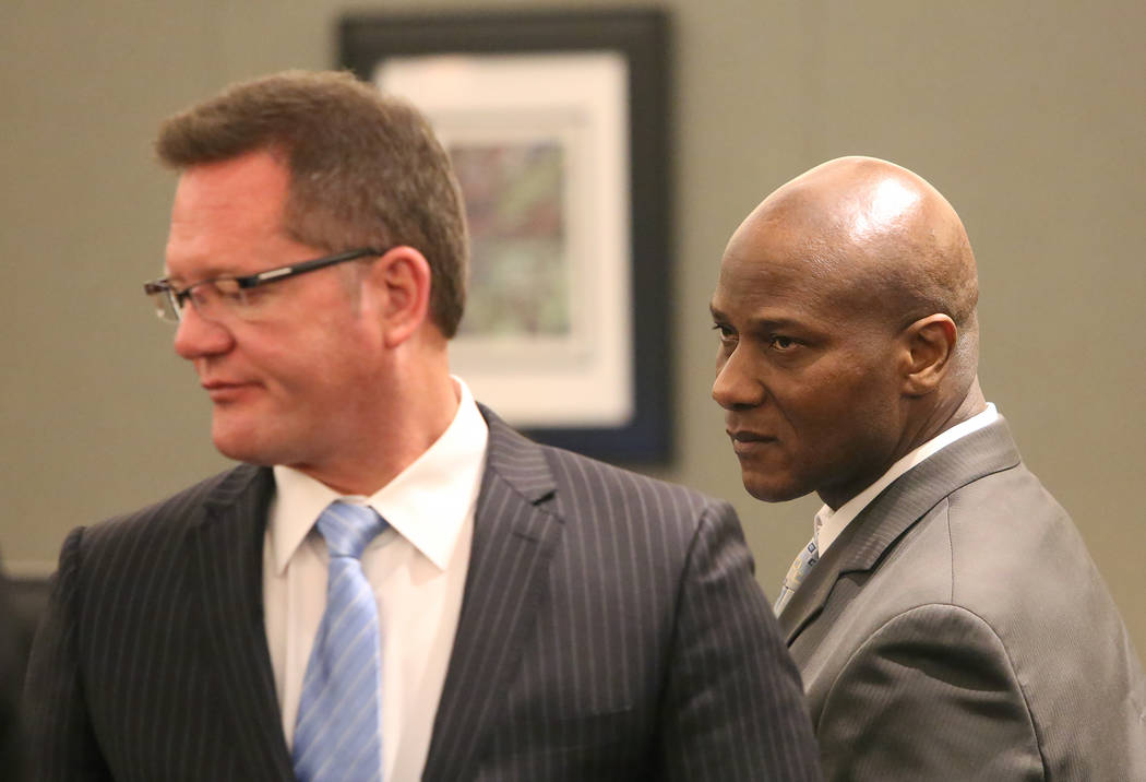 Frederick Richards, right, a former Bellagio club host accused of drugging and raping a woman, and his attorney, Robert Draskovich, appear in court at the Regional Justice Center on Tuesday, May 2 ...