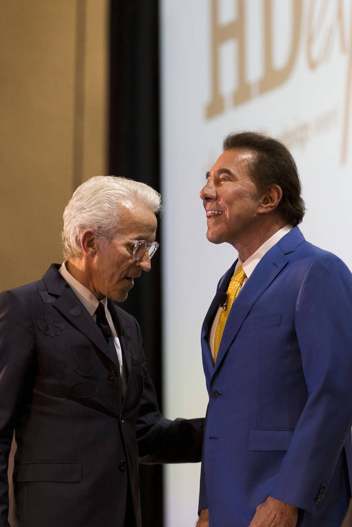 Designer Roger Thomas, left and casino resort developer Steve Wynn at the Hospitality Design Exposition and Conference at the Mandalay Bay Convention Center in Las Vegas, Thursday, May 4, 2017. El ...