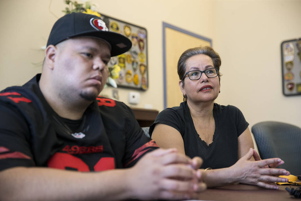 Jose Guzman, left, and his mother Edith during an interview on her other son Jose De Jesus Alatorre Guzman who was killed last year at the age of 19 while walking on the street, on Tuesday, May 9, ...