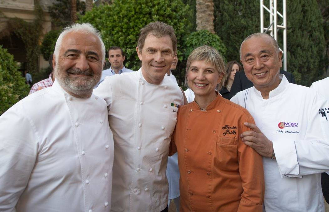 Guy Savoy, Bobby Flay, Mary Sue Milliken and Nobu Matsuhisa attend The Grand Tasting at Vegas Uncork'd by Bon Appetit at Garden of the Gods Pool Oasis at Caesars Palace on Friday, April 28, 2017,  ...