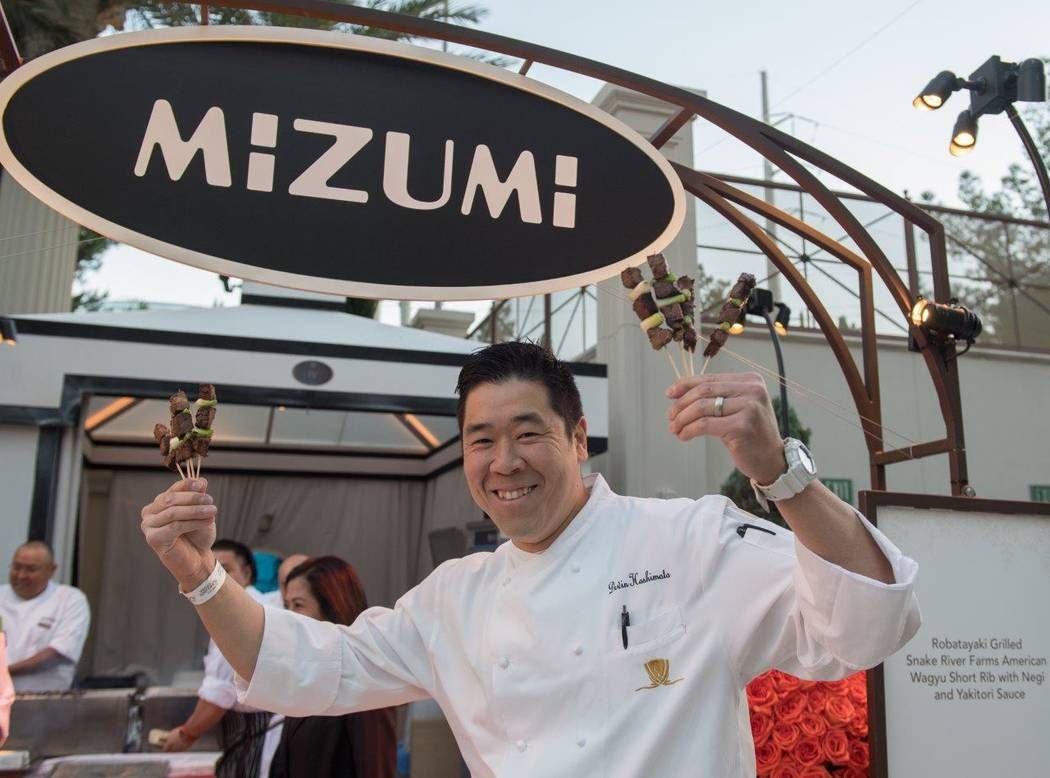 Devin Hashimoto of Mikumi at Wynn Las Vegas attends The Grand Tasting at Vegas Uncork'd by Bon Appetit at Garden of the Gods Pool Oasis at Caesars Palace on Friday, April 28, 2017, in Las Vegas. ( ...