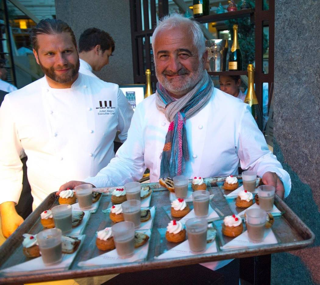Julien Asseo and Guy Savoy attend the Grand Tasting at Vegas Uncork'd by Bon Appetit at Garden of the Gods Pool Oasis at Caesars Palace on Friday, April 28, 2017, in Las Vegas. (Tom Donoghue)