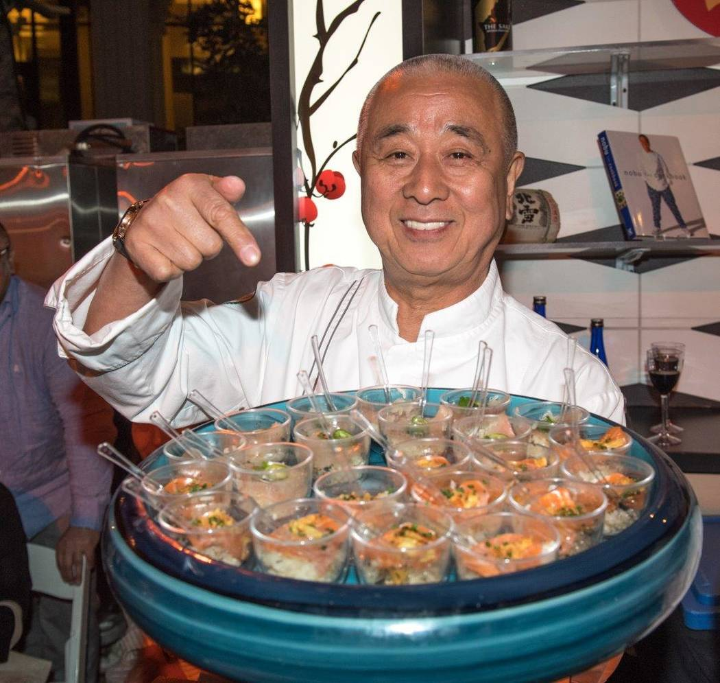 Nobu Matsuhisa attends The Grand Tasting at Vegas Uncork'd by Bon Appetit at Garden of the Gods Pool Oasis at Caesars Palace on Friday, April 28, 2017, in Las Vegas. (Tom Donoghue)