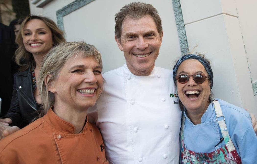 Mary Sue Milliken, Bobby Flay and Susan Feniger attend The Grand Tasting at Vegas Uncork'd by Bon Appetit at Garden of the Gods Pool Oasis at Caesars Palace on Friday, April 28, 2017, in Las Vegas ...