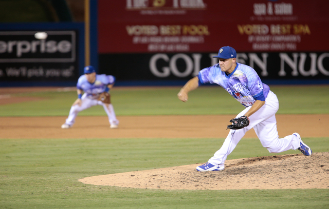 Las Vegas 51s pitcher Paul Sewald throws the ball during a game against the Fresno Grizzlies at Cashman Field in Las Vegas, Friday, August 5, 2016. (Donavon Lockett/Las Vegas Review-Journal)