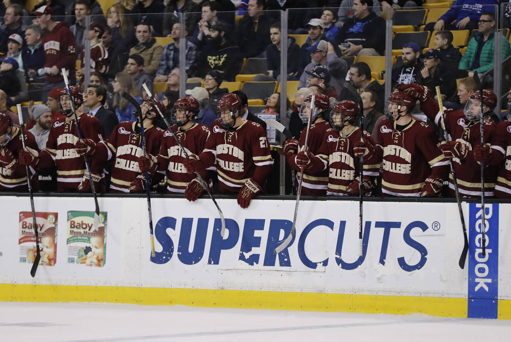 BOSTON, MA - MARCH 18: The BC bench cheers a goal during the Hockey East Championship game between the UMass Lowell River Hawks and the Boston College Eagles on March 18, 2017 at TD garden in Bost ...