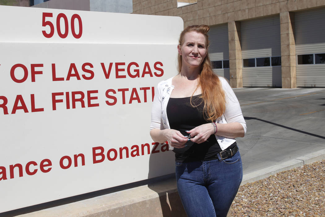 Mallissa Barthule at Fire Station One on Tuesday, May 2, 2017, in Las Vegas. Barthule is a former EMT who says she had sex multiple times inside fire stations. Rachel Aston Las Vegas Review-Journa ...
