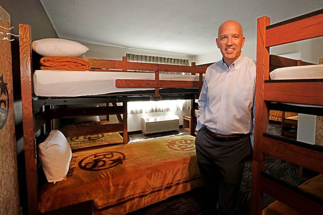 Andre Carrier, chief operating officer of Rising Star Sports Ranch, in a bunk room at the ranch in Mesquite, Nev., Friday, May 5, 2017. Chitose Suzuki Las Vegas Review-Journal @chitosephoto
