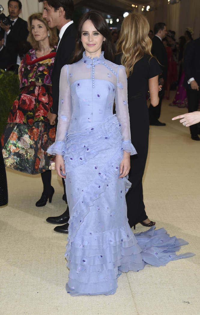 Felicity Jones attends The Metropolitan Museum of Art's Costume Institute benefit gala celebrating the opening of the Rei Kawakubo/Comme des Garçons: Art of the In-Between exhibition on Monday, M ...
