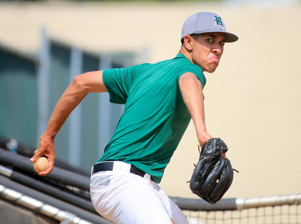 Rancho Rams pitcher Michael Shy throws pitches in the bullpen during practice at Rancho High School on Friday, May 5, 2017, in Las Vegas. Brett Le Blanc Las Vegas Review-Journal @bleblancphoto