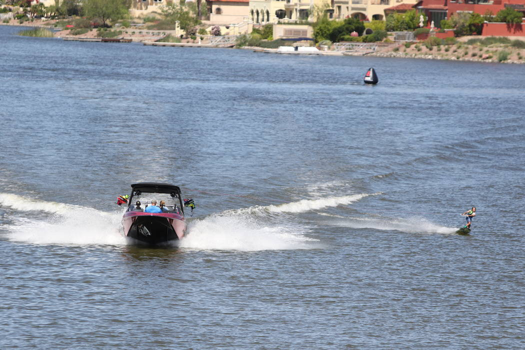 A participant is seen in the the 2016 Malibu Rider Experience at Lake Las Vegas. (Boulder Boats)
