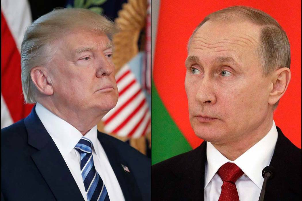 President Donald Trump, left, and Russian President Vladimir Putin spoke by telephone on Tuesday, May 2, 2017. The Associated Press