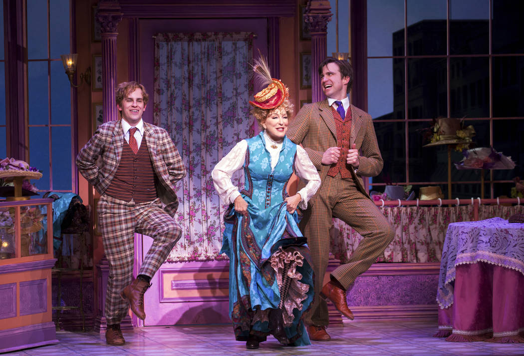 "Taylor Trensch, left, Bette Midler and Gavin Creel perform in ""Hello, Dolly!"" in New York. The musical received 10 Tony nominations on Tuesday, May 2, 2017, including best actress for Midler. Juli ..."