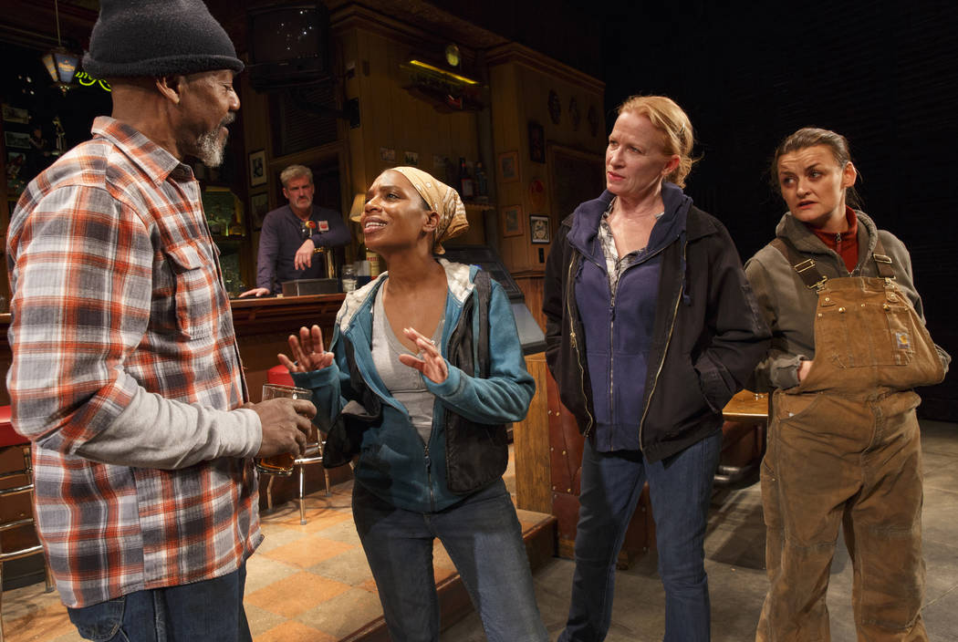 "John Earl Jelks, left, Michelle Wilson, Johanna Day and Alison Wright during a performance of Lynn Nottage's play ""Sweat"" at Studio 54 in New York. The play got a Tony nomination for best play on  ..."