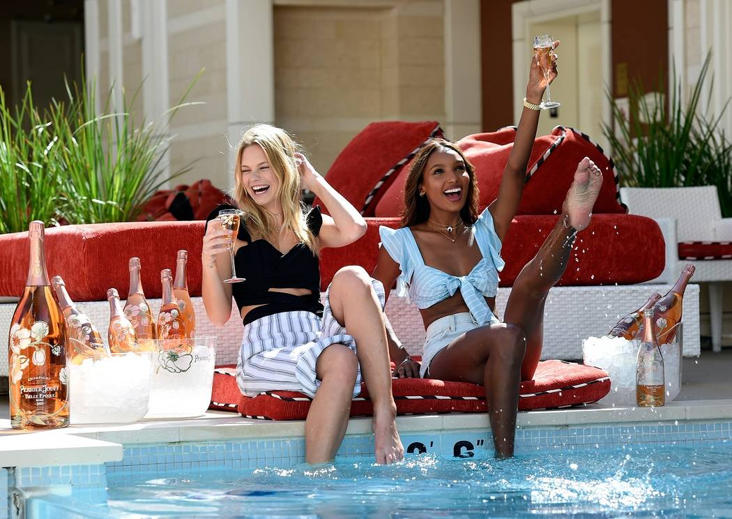 LAS VEGAS, NV - APRIL 27:  Models Nadine Leopold  (L) and Jasmine Tookes enjoy Perrier-Jouet at Encore Beach Club at Wynn Las Vegas on April 27, 2017 in Las Vegas, Nevada.  (Photo by David Becker/ ...