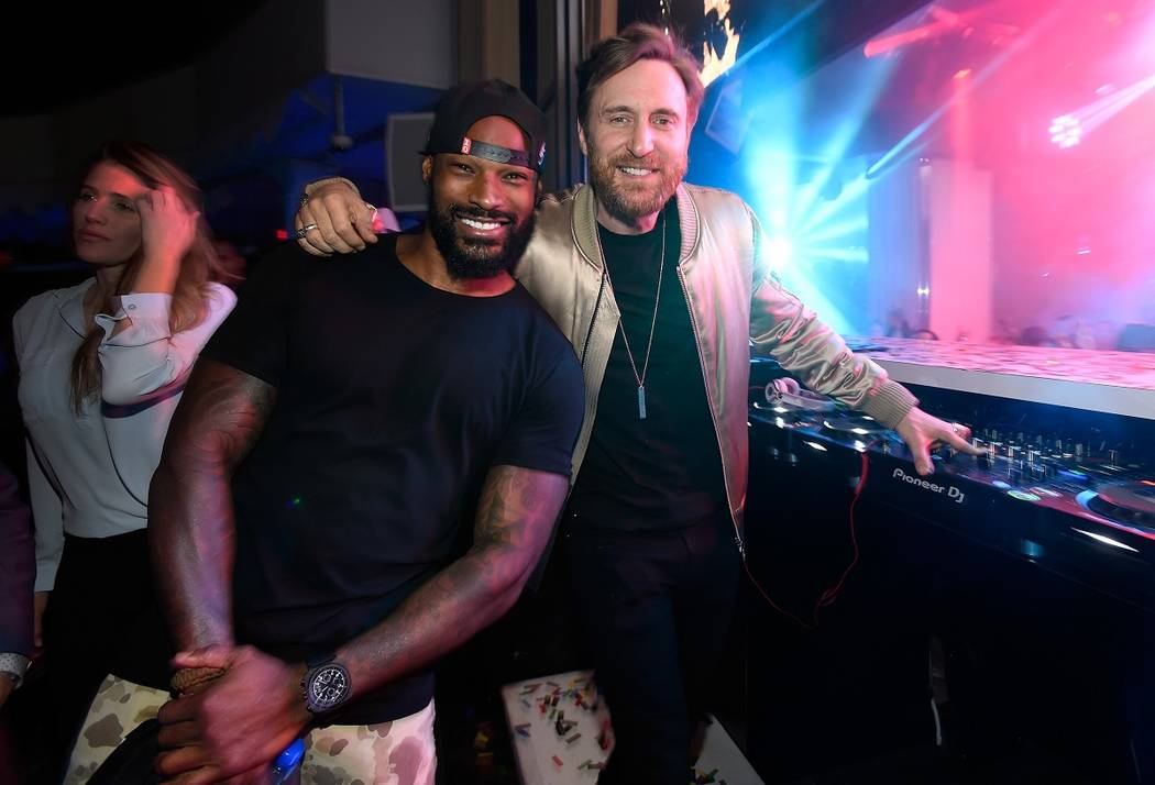 LAS VEGAS, NV - APRIL 28:  Model/actor Tyson Beckford (L) and DJ David Guetta attend Intrigue Nightclub's One-Year Anniversary party hosted by Perrier-Jouet at Wynn Las Vegas on April 28, 2017 in  ...