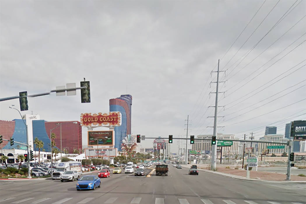 West Flamingo Road and Hugh Hefner Drive in Las Vegas (Google Street View)