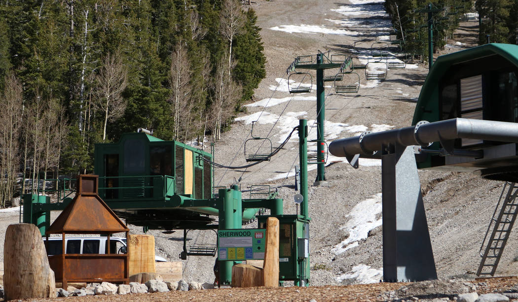 The lifts at Lee Canyon ski resort undergoing maintenance, Tuesday, May 2, 2017. The ski resort is ready to modernize and expand into a year-round playground. Gabriella Benavidez Las Vegas Review- ...
