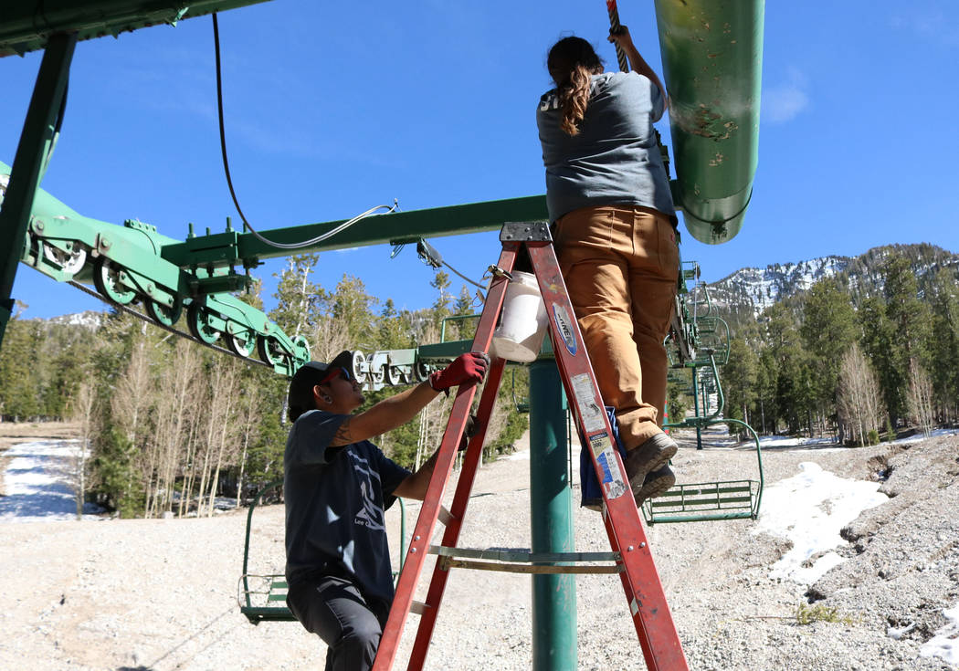 Two workers perform maintenance on a ski lift at Lee Canyon at Mount Charleston, Tuesday, May 2, 2017. Lee Canyon ski resort is ready to modernize and expand into a year-round playground. Gabriell ...
