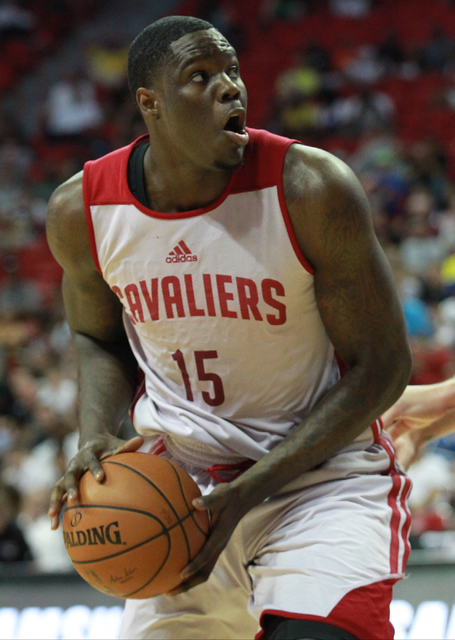 Cleveland's Anthony Bennett (15) looks to shoot while playing against Houston during an NBA Summer League game at the Thomas & Mack Center in Las Vegas on Thursday, July 17, 2014. (Chase Steve ...
