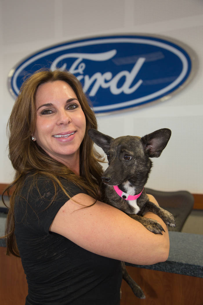 Friendly Ford Dana Arcana is seen with a furry friend who found his forever home at a previous Paws for the Cause during Friendly Ford at 660 N. Decatur Blvd.