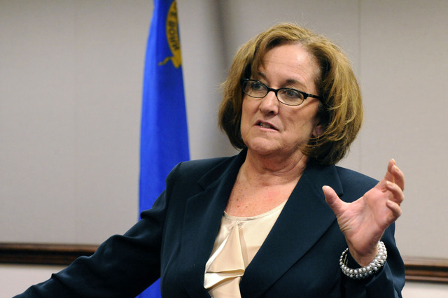 Nevada Assemblywoman Debbie Smith, D-Sparks, chair of Assembly Ways and Means Committee, discusses on Saturday, June 4, 2011, the $6.2 billion bill that is meant to fund the state government for t ...