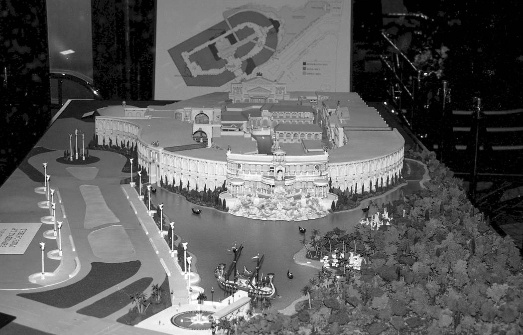 A collection of images taken of the original scale model concept of the Forum Shops at Caesars Palace in 1988. Caesars Palace / Forum Shops