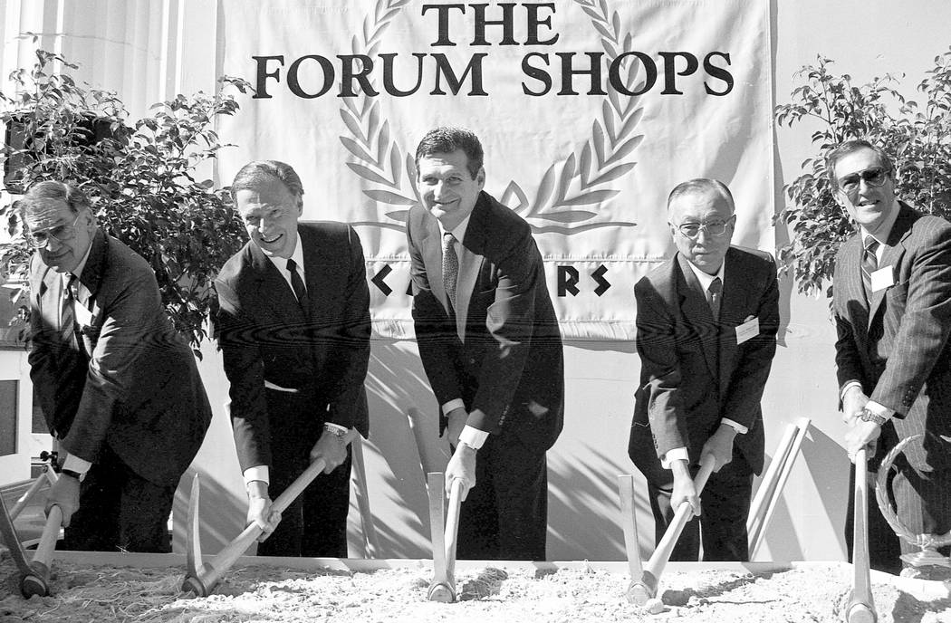 A collection of images taken during ground breaking ceremonies for the Forum Shops at Caesars Palace in 1990. Caesars Palace / Forum Shops