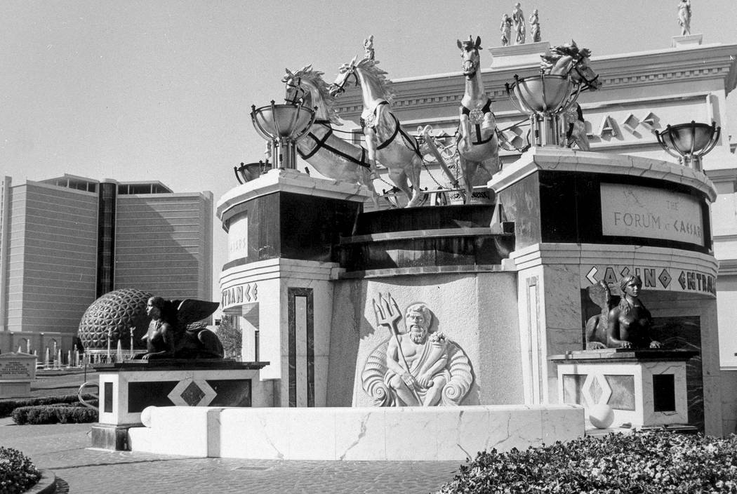 An image of the outside entrance to the Forum Shops at Caesars Palace with fountain in 1992. Caesars Palace/ Forum Shops