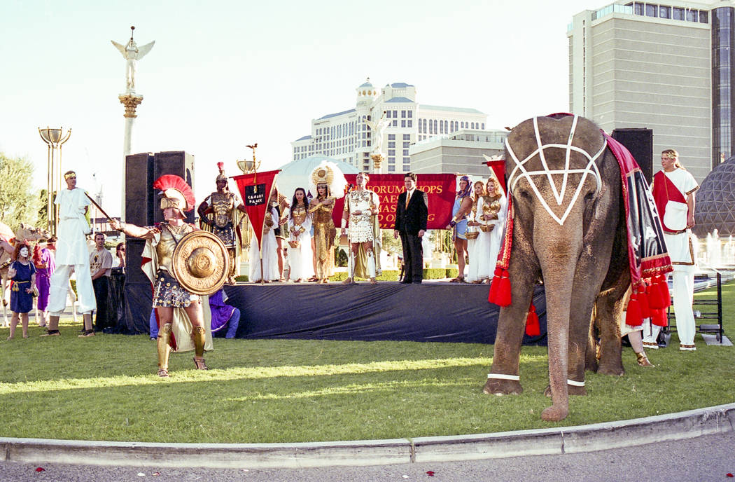 Forum Shops phase 2 opening at Caesars Palace on August 28, 1997. Caesars Palace