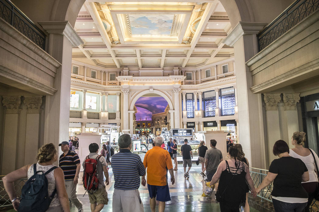 Shoppers walk the halls of the Forum Shops on Wednesday, May 3, 2017, at Caesars Palace hotel-casino, in Las Vegas. Benjamin Hager Las Vegas Review-Journal @benjaminhphoto