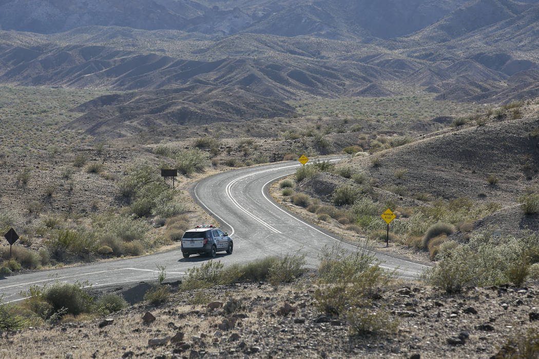 A Las Vegas Metropolitan Police vehicle leaves the scene at Lake Mead National Recreation Area on Tuesday, May 2, 2017. Bridget Bennett Las Vegas Review-Journal @bridgetkbennett