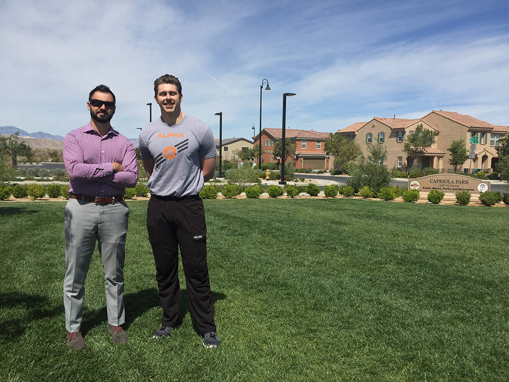 Alexandar Gruin, resident of Inspirada and general manager of Life Time Fitness Green Valley, and Richard Johnson, Life Time's personal training manager, will be at the farmers market event May 13.