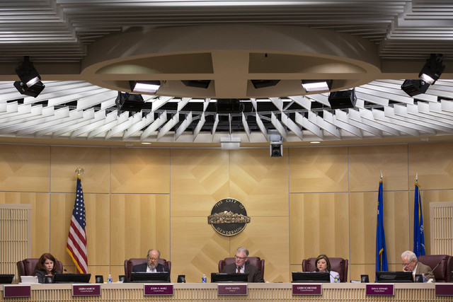 Henderson city council members are shown on Tuesday, Feb. 7, 2017, at Henderson City Hall in Henderson. (Bridget Bennett/Las Vegas Review-Journal) @bridgetkb