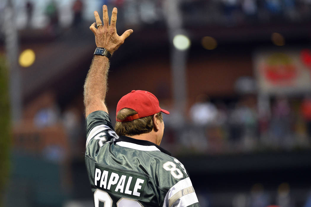 Former Philadelphia Eagle Vince Papale waves to the crowd during a baseball game between the Philadelphia Phillies and the Milwaukee Brewers, Friday, June 3, 2016, in Philadelphia. (AP Photo/Derik ...