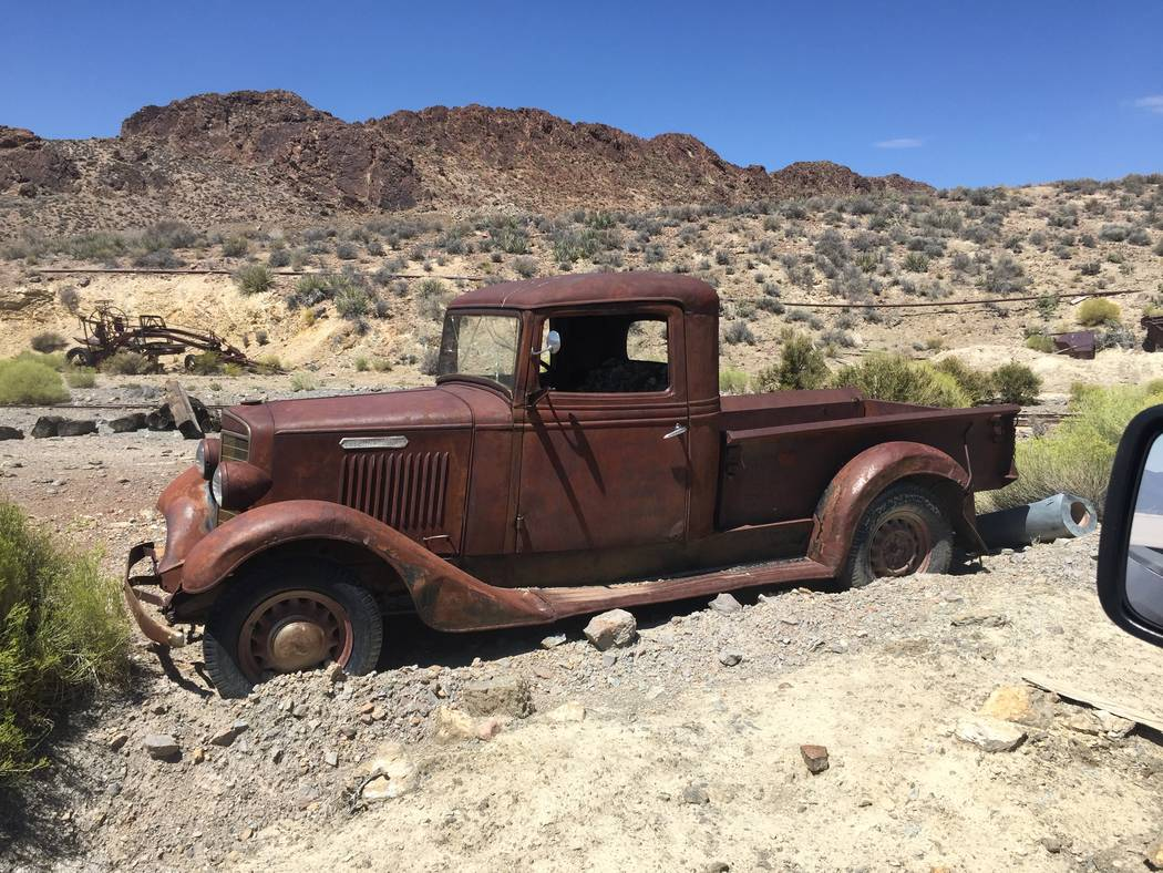 A 1936 International truck at the Groom Mine site. (Sheahan family)