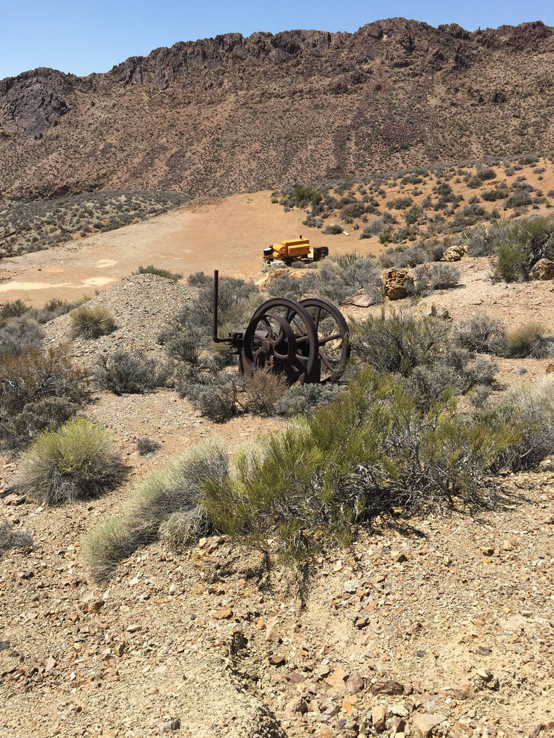 Mining equipment dating back to the late 1800s and early 1900s at the Groom Mine site in Lincoln County. Sheahan family.