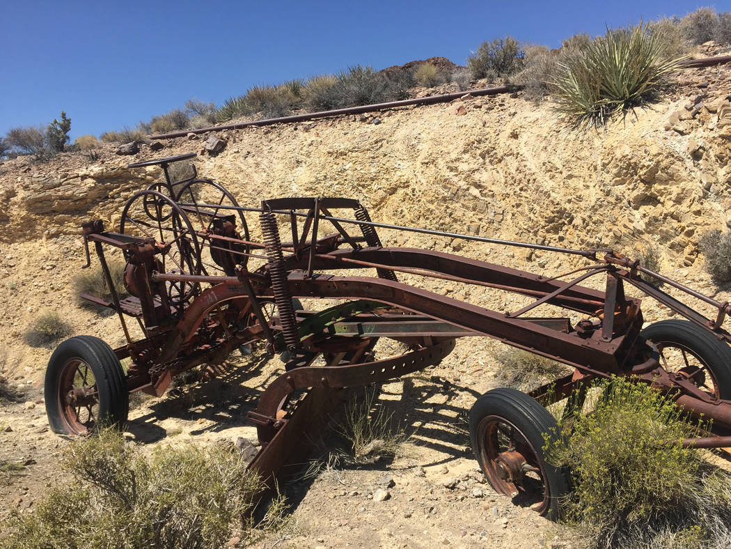An antique grader at the Groom Mine site. Sheahan family.