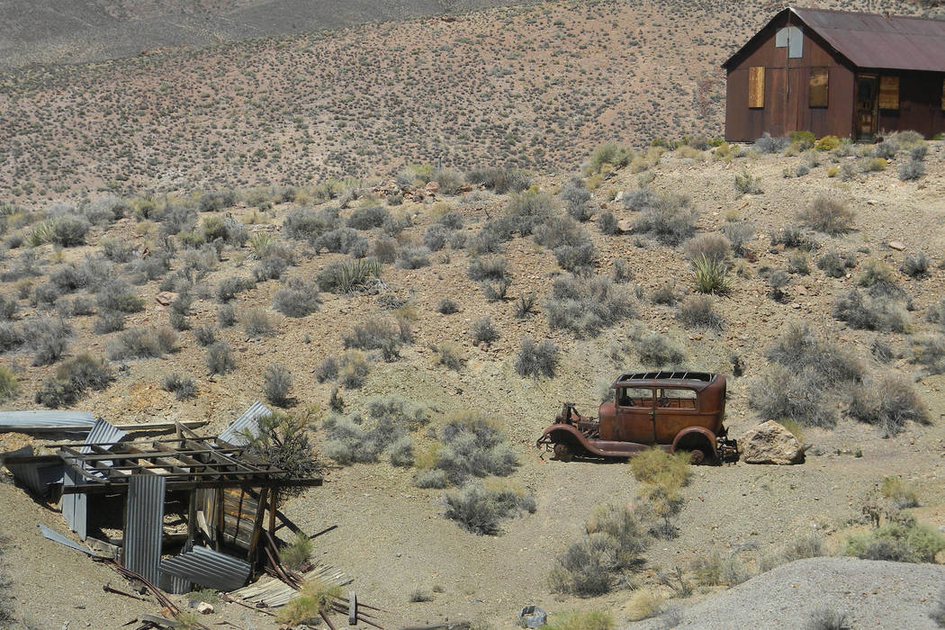 1929 Model A Ford at the Groom Mine site. (Sheahan family)
